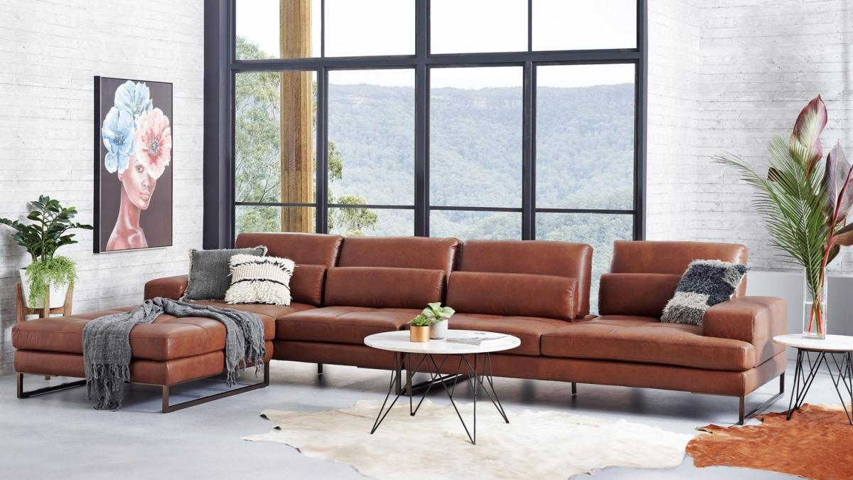 Buy Alchemy Leather Sofa with Chaise | Harvey Norman AU