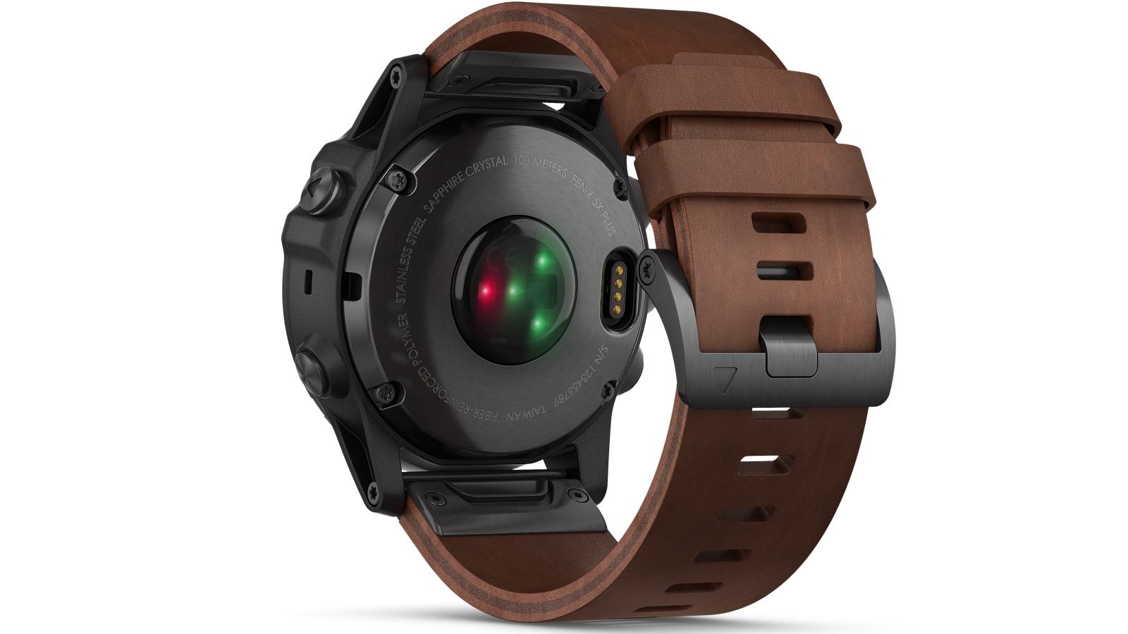 Garmin Fenix 5x Plus Sapphire Edition Gps Smart Watch Slate Grey Case With Brown Leather Band