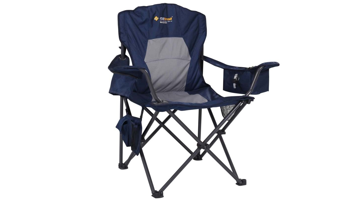 Quad chair with footrest - Image Is Loading Oztrail Monarch Quad Chair With Footrest Drink Holder