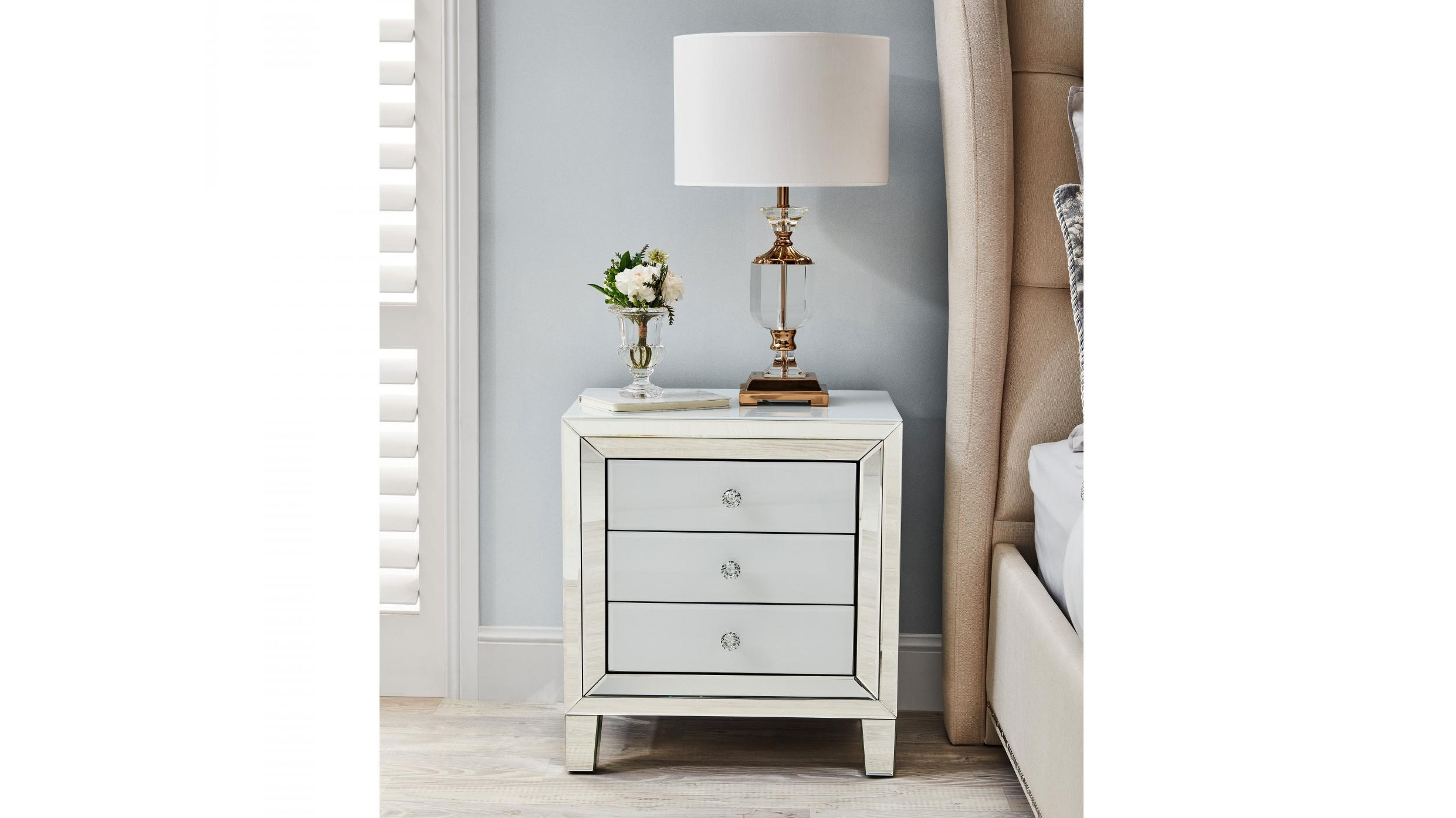 ritz 3 drawer bedside table white