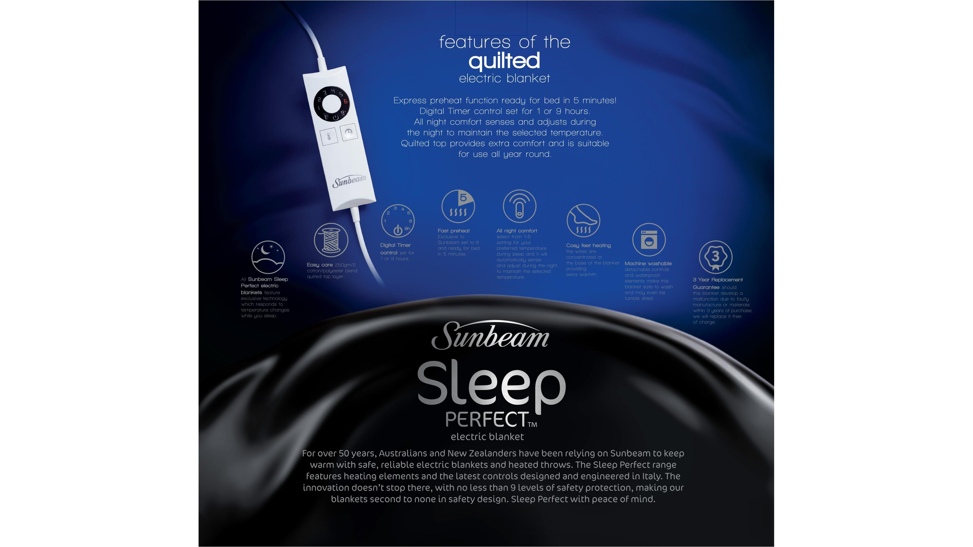 907ead1514 Buy Sunbeam Sleep Perfect Quilted Electric Blanket - Queen Bed ...