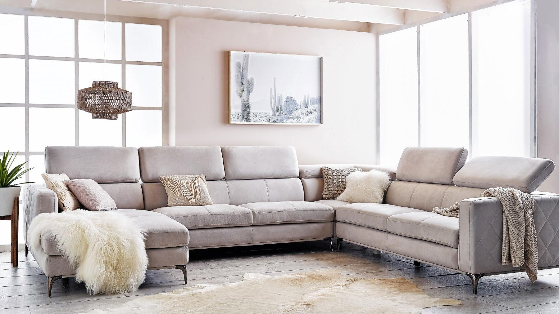 Buy houston 6 seater fabric modular sofa with chaise harvey norman au