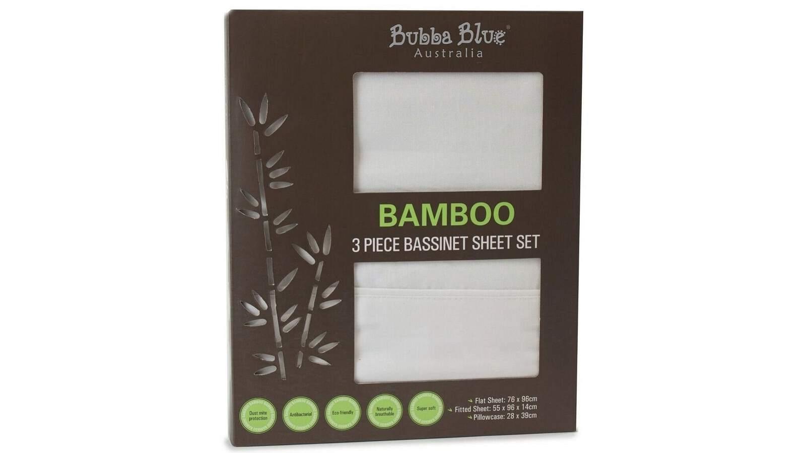 Image of Bubba Blue Bamboo 3 Piece Bassinet Sheet Set - White