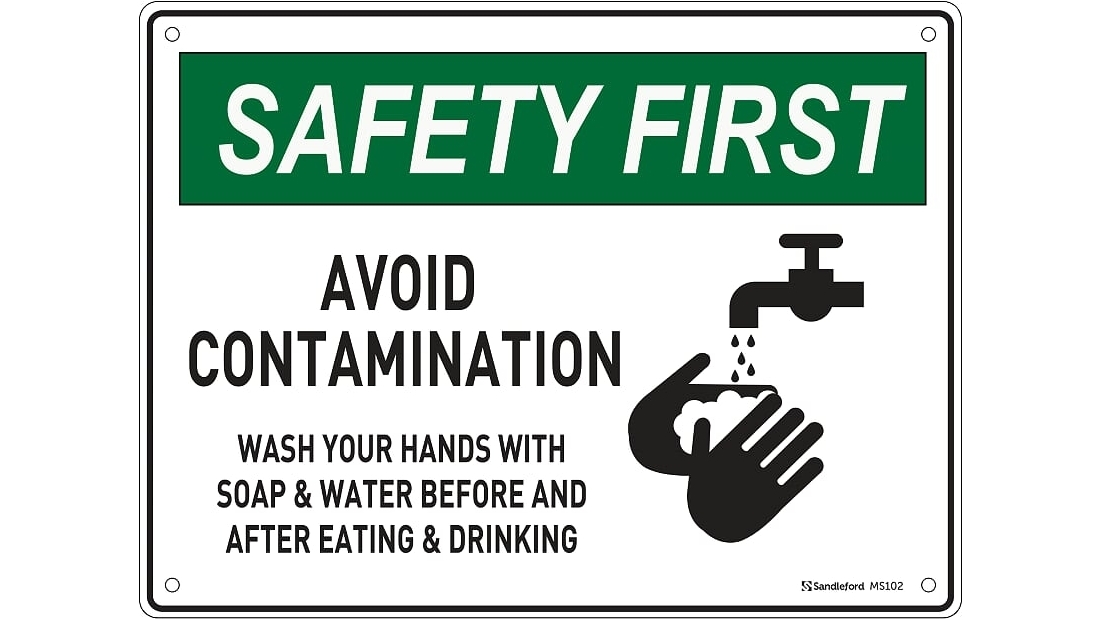 """Image of Sandleford Medium Sign PP 300mm x 225mm """"Safety First Avoid Contamination Wash hands before and after eating drinking"""""""