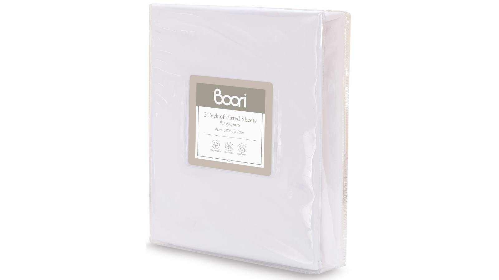 Image of Boori Two Pack Bassinet Fitted Sheet - White