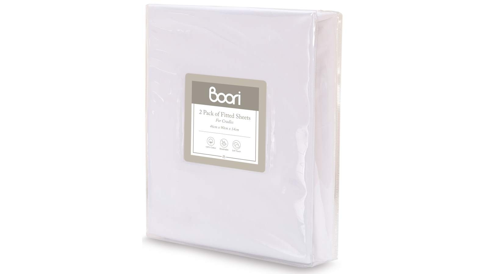 Image of Boori Two Pack Cradle Fitted Sheet - White
