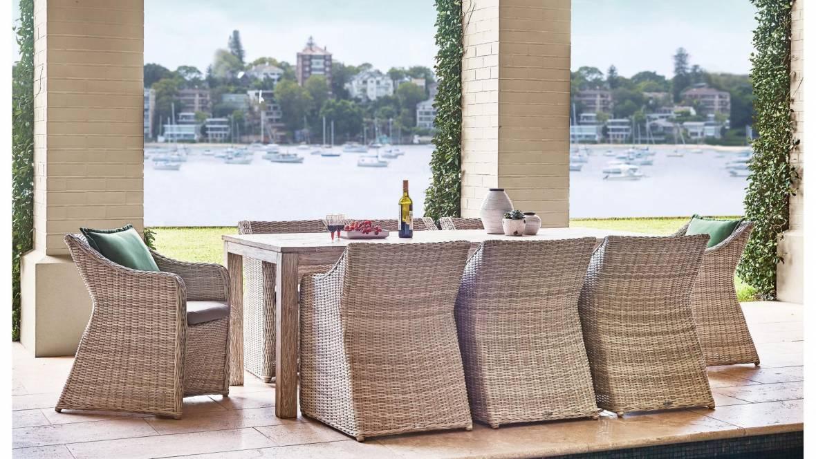 Sicily Outdoor 9-Piece Rectangular Dining Setting