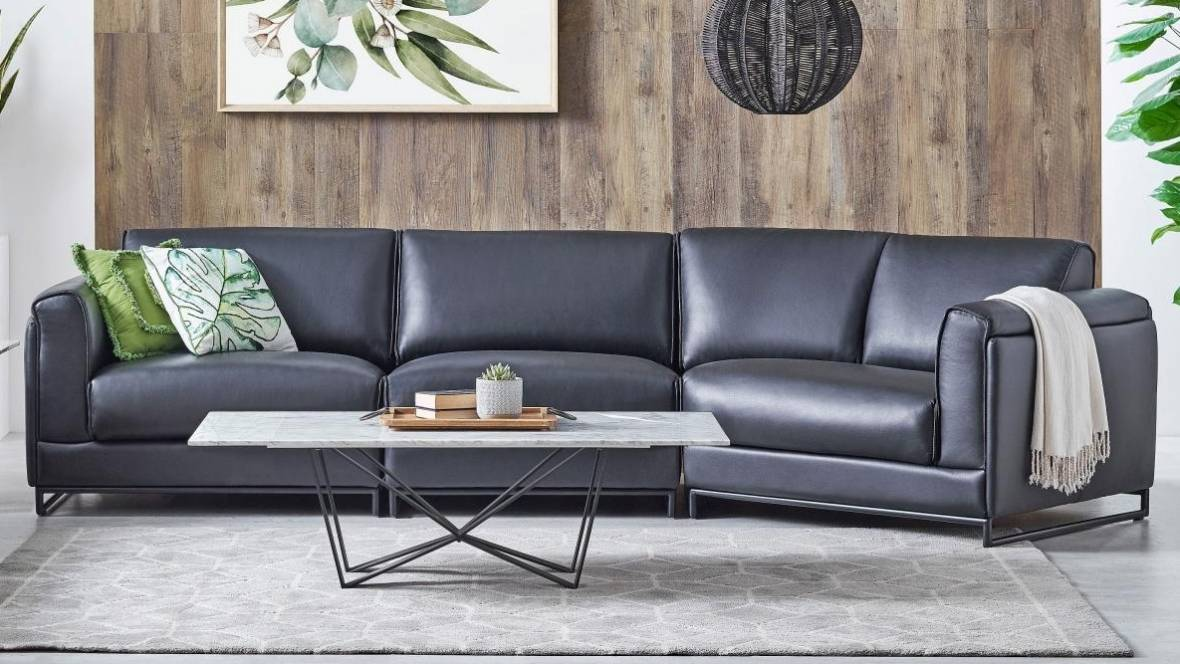 Platini 2-Seater Leather Sofa with Angled Chaise