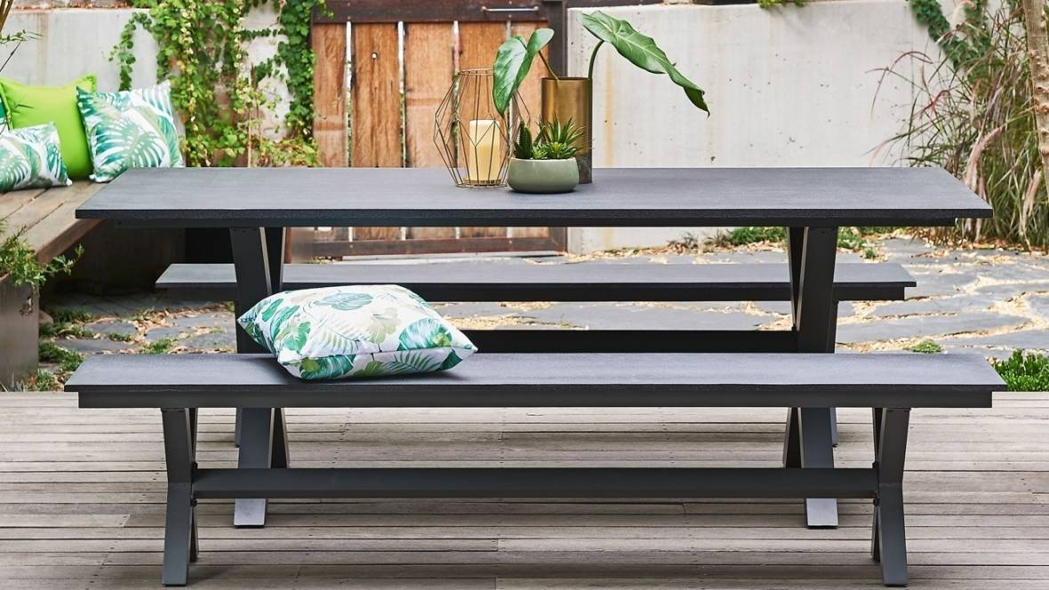 Derby Outdoor 3-Piece Rectangular Bench Dining Setting