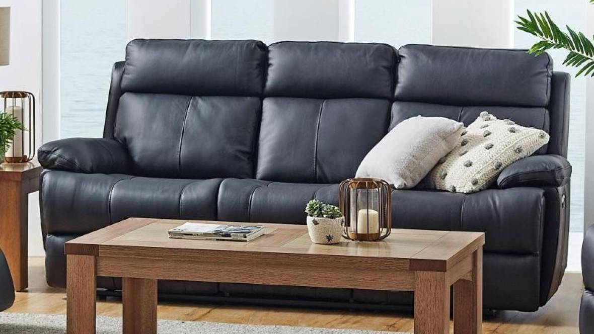 Hailebury Leather Powered Recliner Sofa