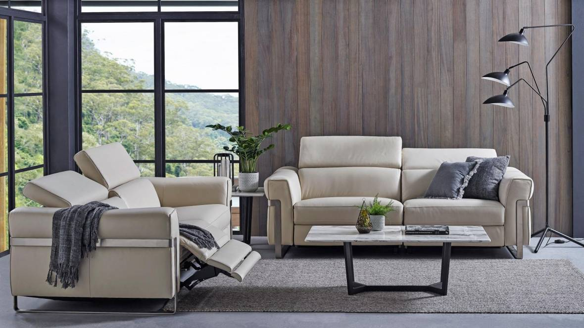 Geo Leather Powered Recliner Sofa