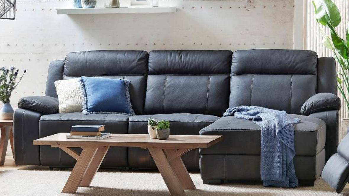 Picture of: Buy Vienna 3 Seater Fabric Recliner Sofa With Chaise Harvey Norman Au