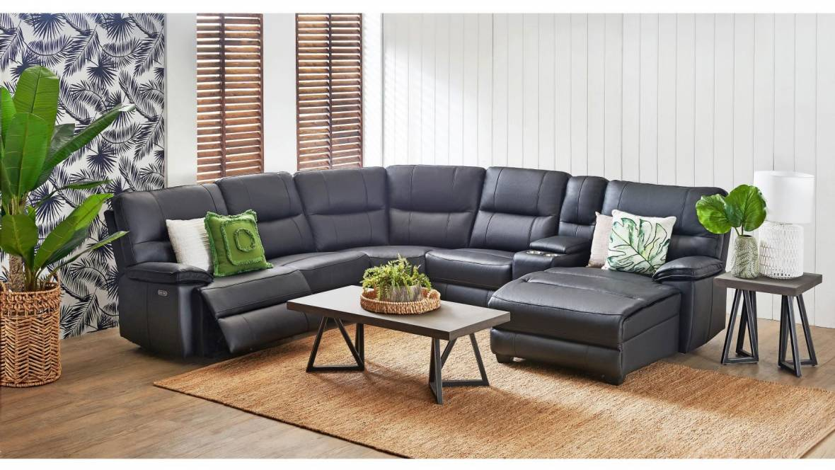 Poncho 5-Seater Leather Powered Modular Sofa with Chaise