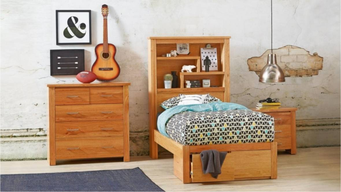 Cargo Bed with Bookcase Bedhead