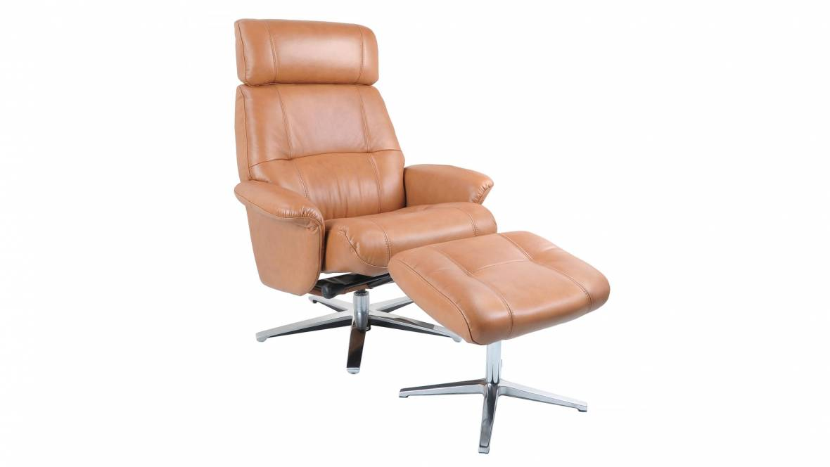 Henri Leather Recliner and Footstool