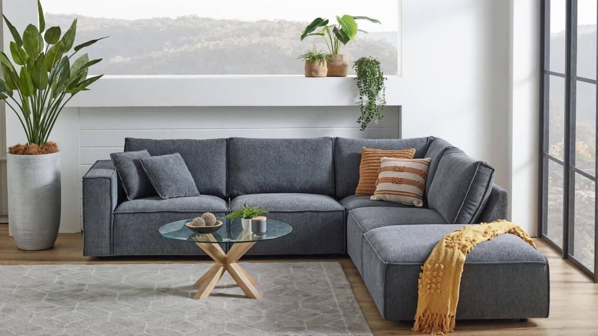 Kelly 4-Seater Fabric Modular Sofa with Ottoman