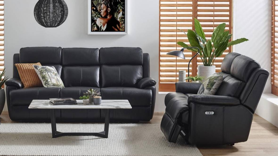 Everson Leather Powered Recliner Sofa