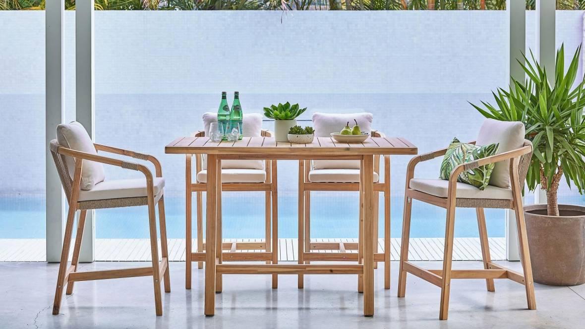 Rimini 5-Piece Outdoor Rectangular Bar Setting