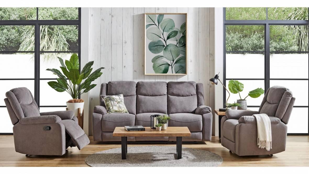 Dakota 3-Piece Fabric Recliner Lounge Suite