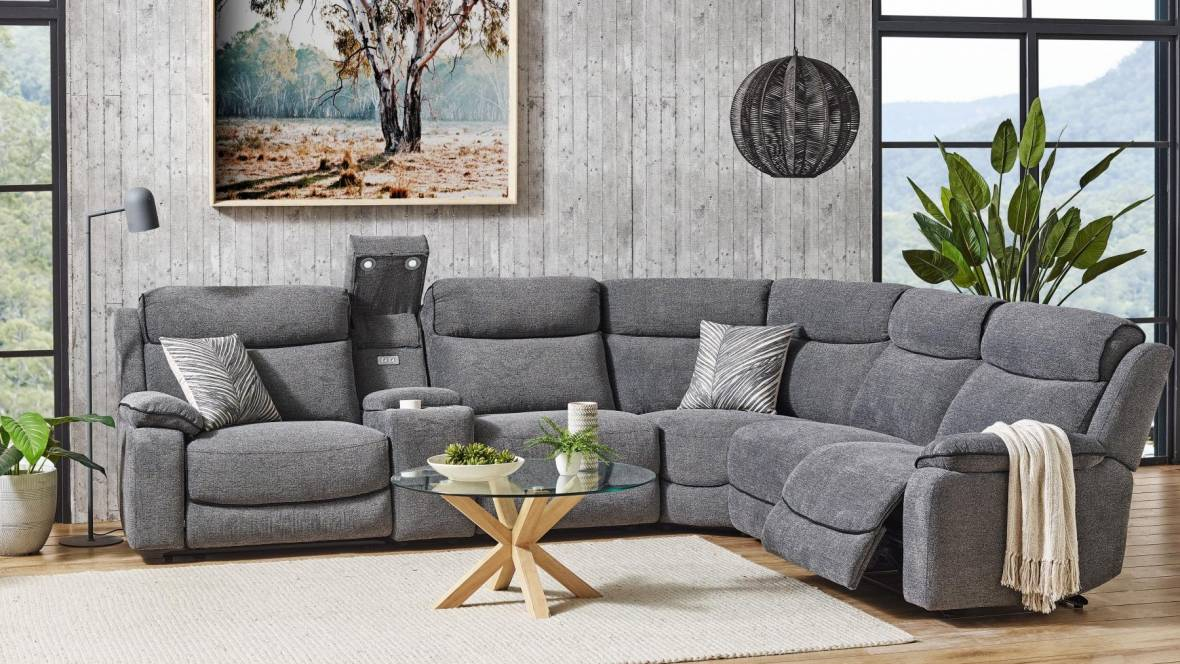 Archie Fabric Powered Recliner Modular Lounge Suite