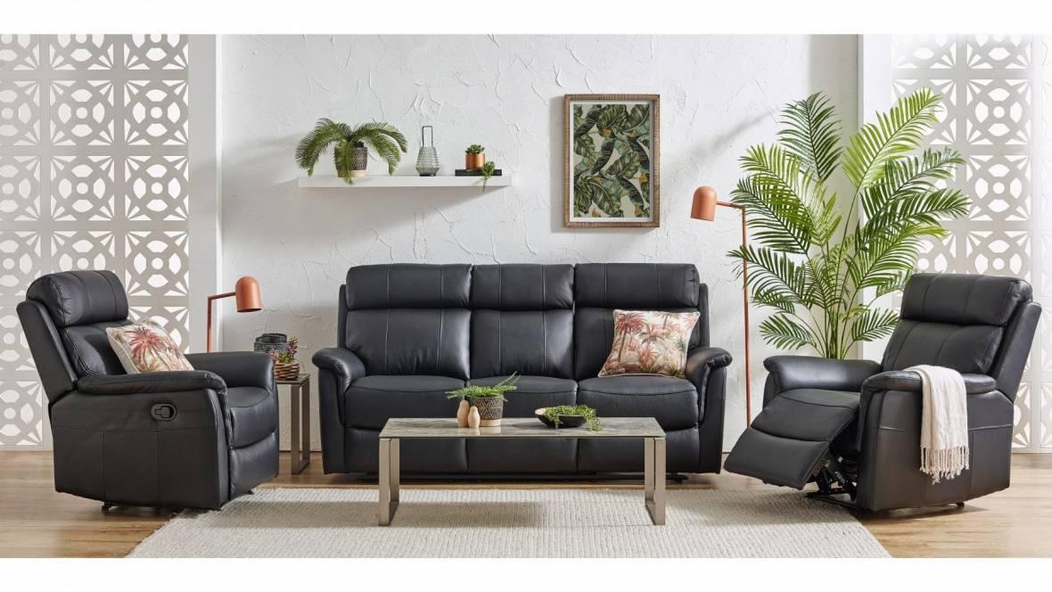 Jamieson 3-Piece Leather Recliner Lounge Suite