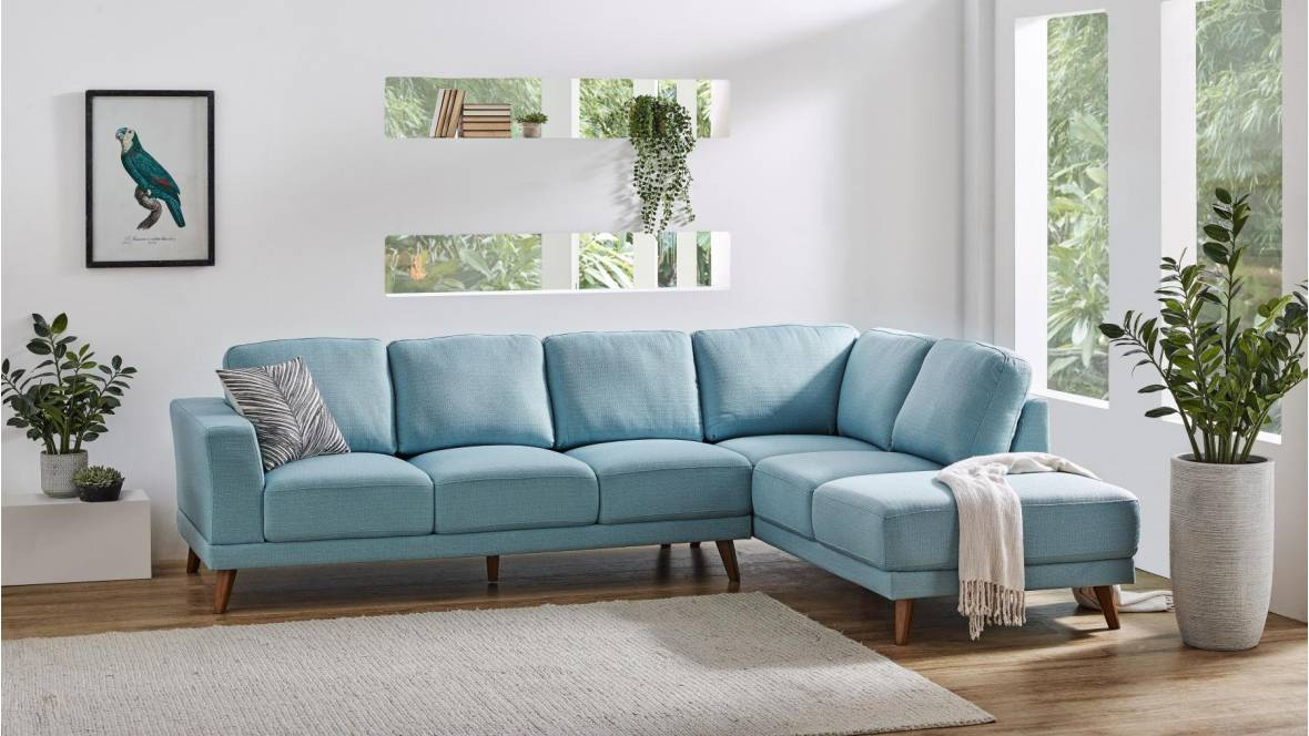 Brewer Fabric Corner Lounge with Chaise