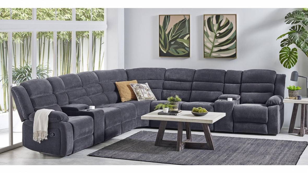 Admiral 7-Seater Fabric Recliner Modular Lounge Suite