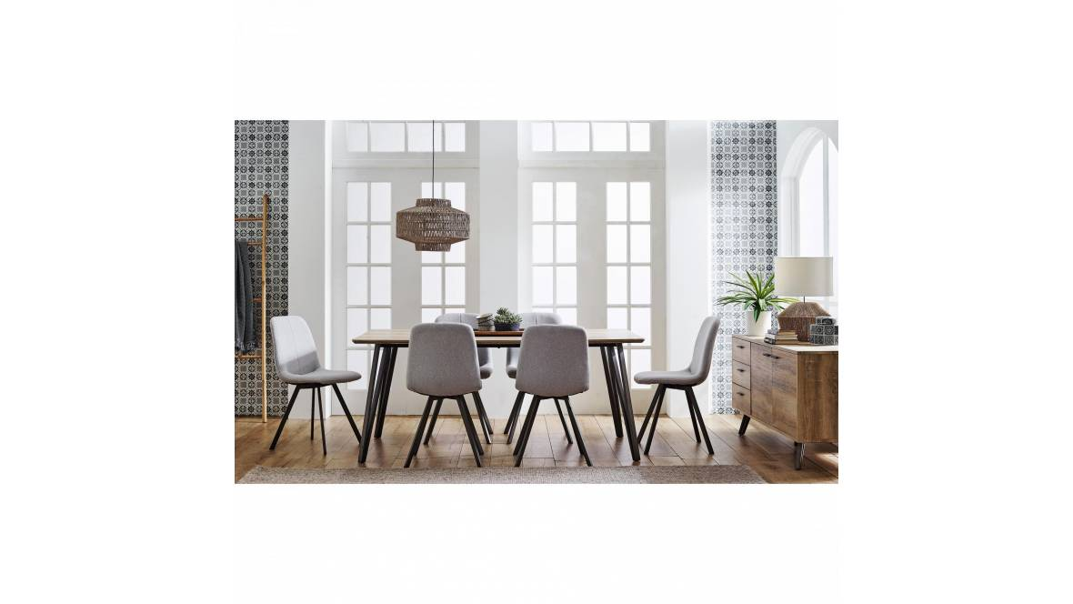 Gwyn 7-Piece Rectangle Dining Setting with Fabric Chair