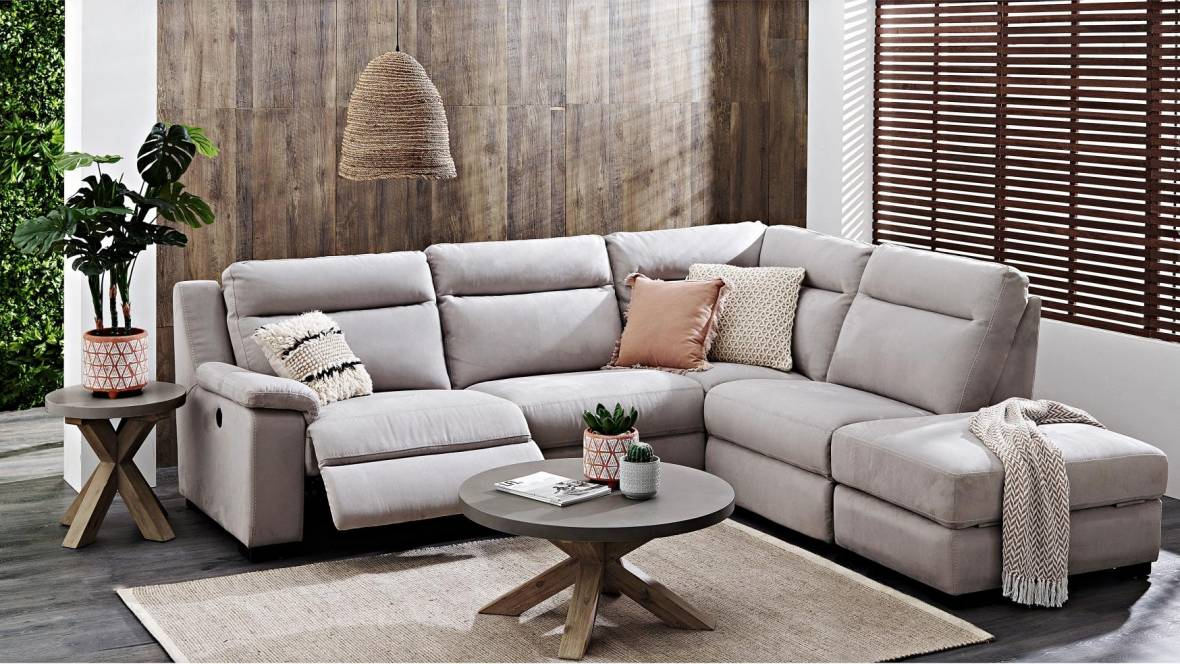 Boulevard 4-Seater Powered Fabric Modular Lounge Suite with Chaise
