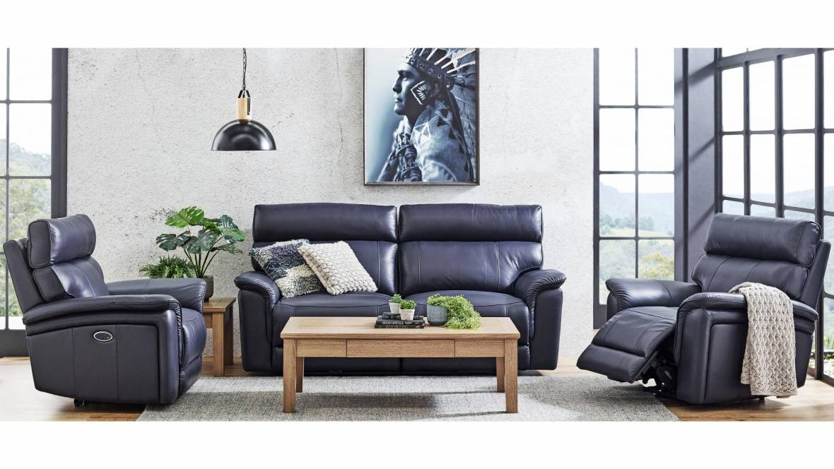 Mondo 3-Piece Leather Powered Recliner Lounge Suite