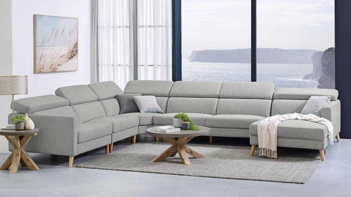 Bennelong 6-Seater Fabric Corner Lounge Suite with Chaise
