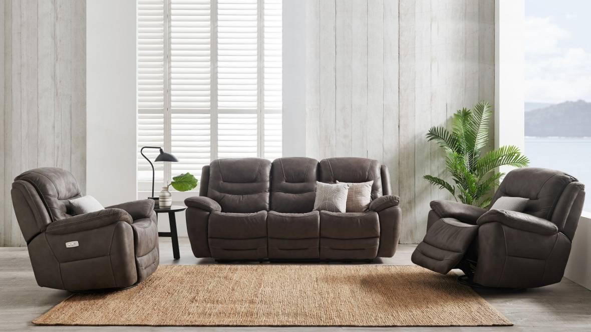 Bundaberg 3-Piece Fabric Powered Recliner Lounge Suite