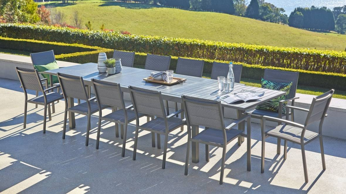 Bon 13-Piece Outdoor Gunmetal Extension Dining Setting