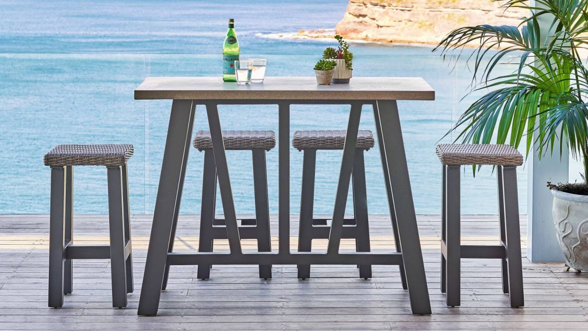Tonic 5-Piece Outdoor Rectangular Bar Setting