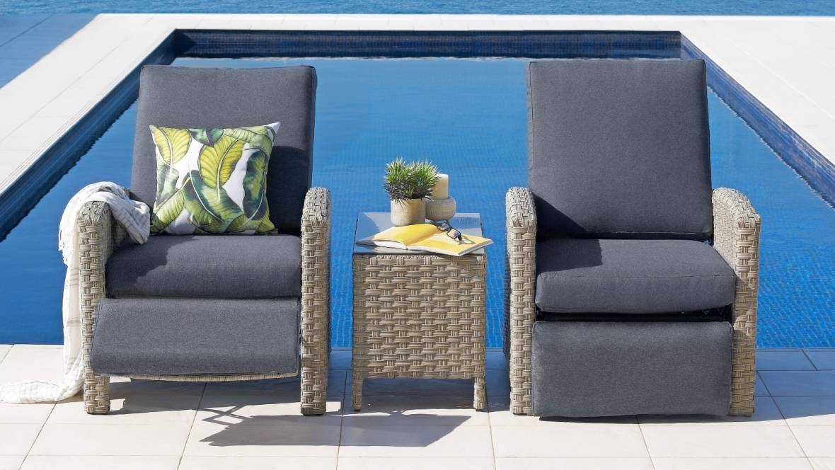 Willows 3-Piece Outdoor Reclining Chat Setting