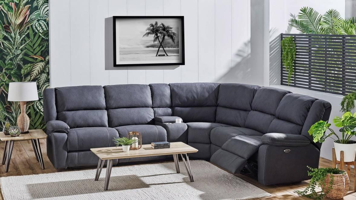 Roxy 5-Seater Fabric Powered Recliner Modular Sofa