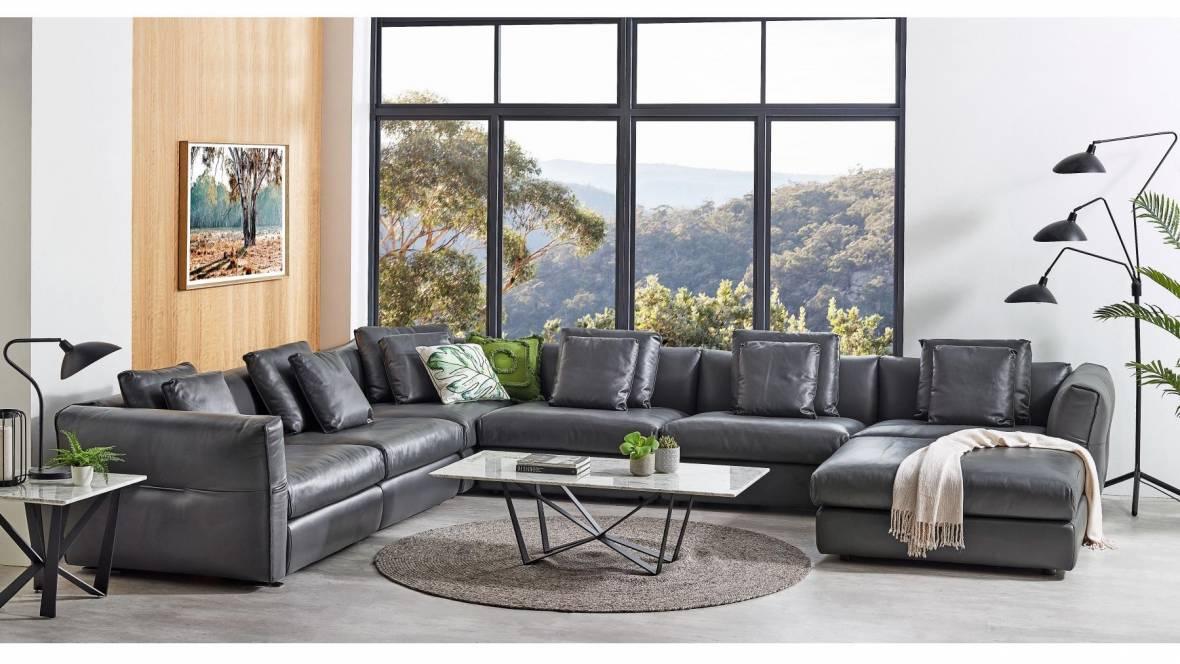 Kemp Leather Corner Modular Lounge Suite