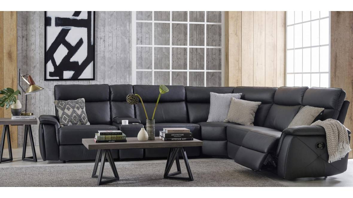 Maxima 5-Seater Leather Recliner Lounge Suite