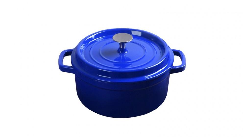 SOGA Cast Iron 24cm Enamel Porcelain Stewpot Casserole Stew Cooking Pot With Lid 3.6L - Blue