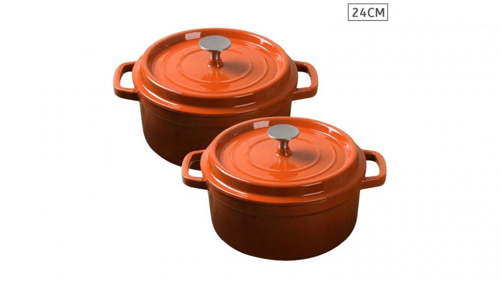 SOGA 2x Cast Iron 24cm Enamel Porcelain Stewpot Casserole Stew Cooking Pot With Lid - Orange