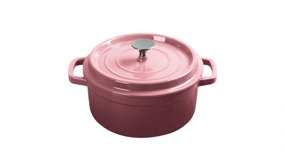 SOGA Cast Iron 24cm Enamel Porcelain Stewpot Casserole Stew Cooking Pot With Lid 3.6L - Pink