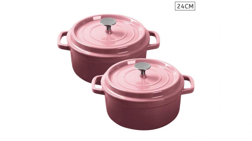 SOGA 2x Cast Iron 24cm Enamel Porcelain Stewpot Casserole Stew Cooking Pot With Lid - Pink