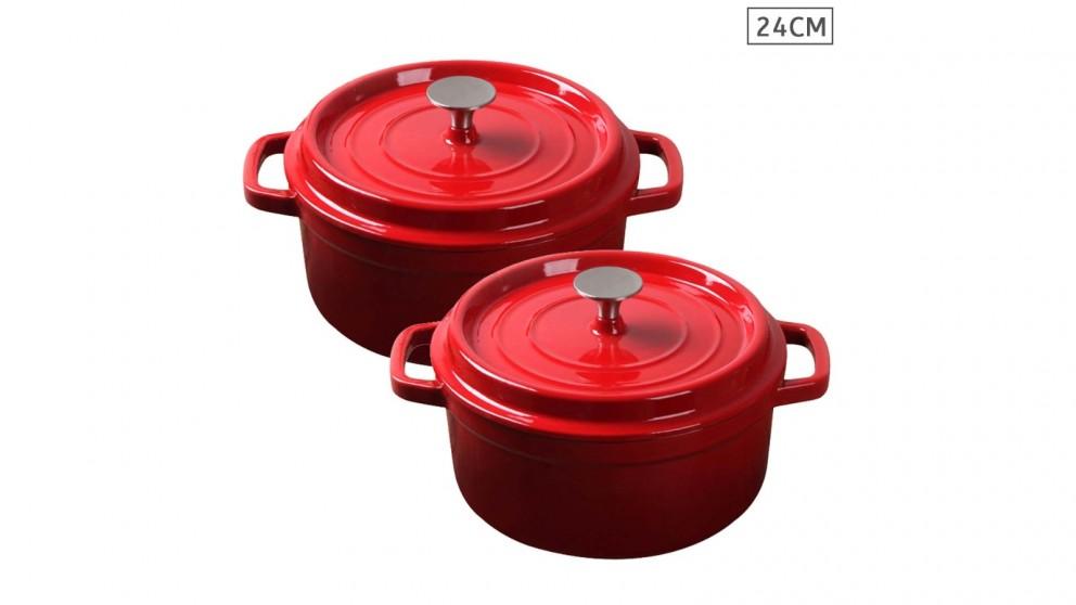 SOGA 2x Cast Iron 24cm Enamel Porcelain Stewpot Casserole Stew Cooking Pot With Lid - Red