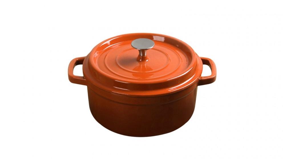 SOGA Cast Iron 26cm Enamel Porcelain Stewpot Casserole Stew Cooking Pot With Lid 5L - Orange