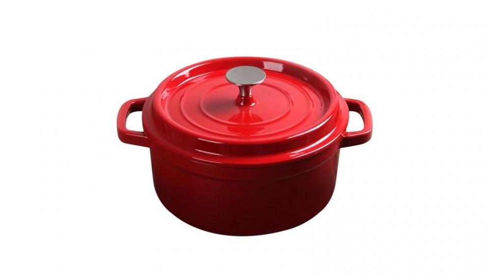 SOGA Cast Iron 26cm Enamel Porcelain Stewpot Casserole Stew Cooking Pot With Lid 5L - Red