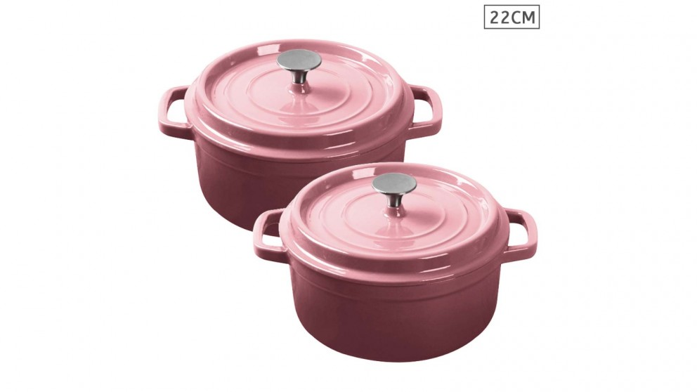 SOGA 2x Cast Iron 22cm Enamel Porcelain Stewpot Casserole Stew Cooking Pot With Lid - Pink
