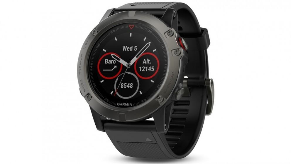 Garmin Fenix 5x Sapphire Edition Black Band GPS Watch - Slate Grey