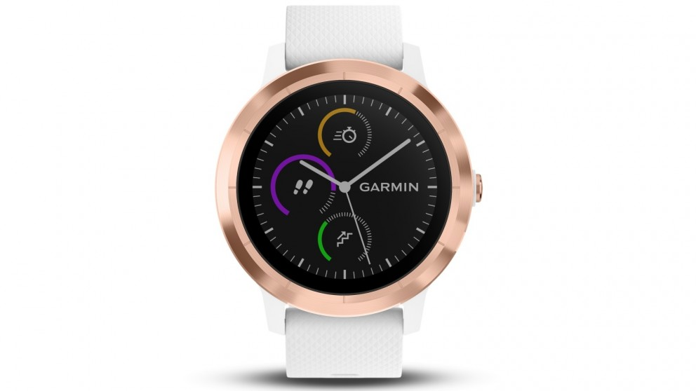 Garmin Vivoactive 3 GPS Smart Watch with Activity Tracking - Rose Gold with White Silicone Band
