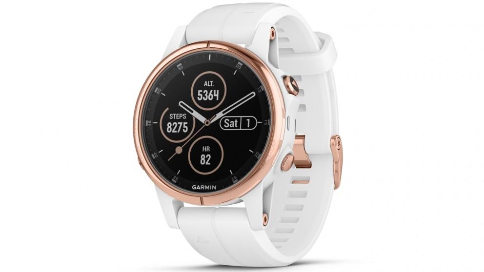 Garmin Fenix 5s Plus Sapphire Edition Gps Smart Watch Rose Gold Tone Case With White Band