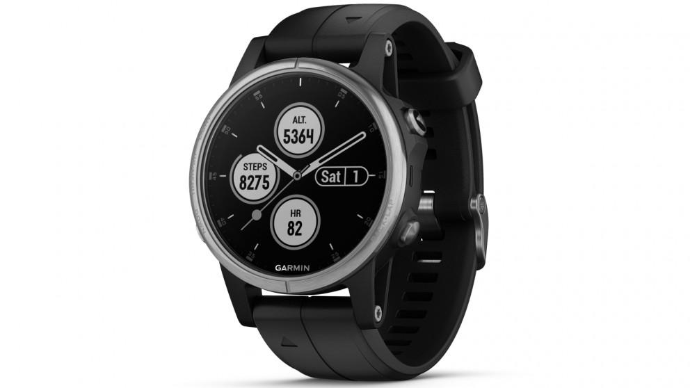 6494bf81615be9 Buy Garmin Fenix 5S Plus GPS Smart Watch - Silver Case with Black Band |  Harvey Norman AU